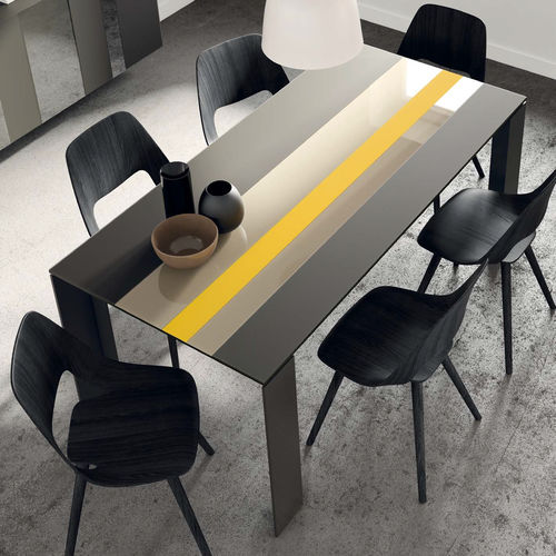Contemporary dining table / wooden / ceramic / lacquered glass T11  VIVE - MUEBLES VERGE S.L.