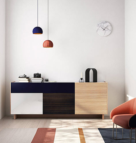 Contemporary sideboard / lacquered wood / oak / lacquered glass FRENTES : A01 VIVE - MUEBLES VERGE S.L.
