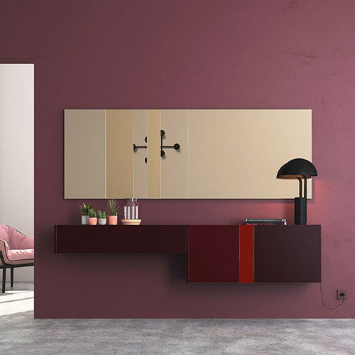 wall-mounted sideboard / contemporary / lacquered glass