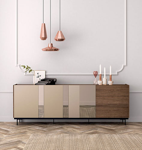Contemporary sideboard / walnut / glass FRENTES : A04 VIVE - MUEBLES VERGE S.L.