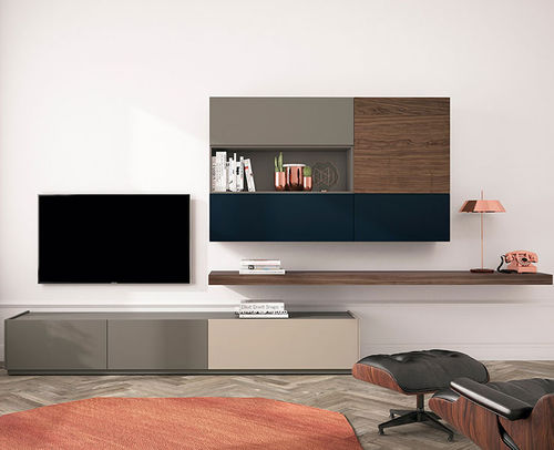 Contemporary TV wall unit / lacquered wood / walnut FRENTES : TV04 VIVE - MUEBLES VERGE S.L.