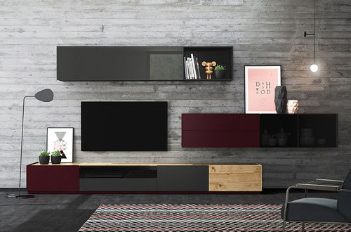 Contemporary TV wall unit / oak / glossy lacquered wood FRENTES : TV05 VIVE - MUEBLES VERGE S.L.