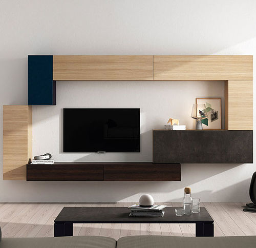 Contemporary TV wall unit / oak / lacquered glass FRENTES : TV06 VIVE - MUEBLES VERGE S.L.