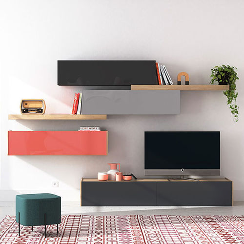 Contemporary TV wall unit / lacquered glass FRENTES : TV07 VIVE - MUEBLES VERGE S.L.