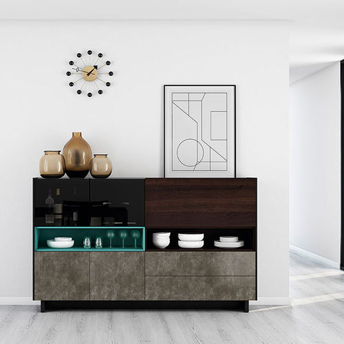 contemporary sideboard / oak / lacquered glass
