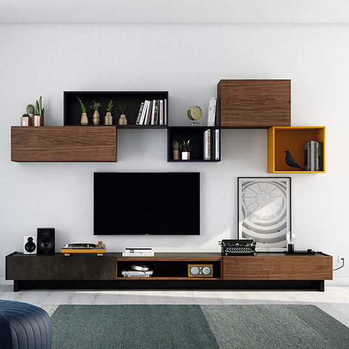 Contemporary TV wall unit / lacquered wood / walnut FRENTES : TV09 VIVE - MUEBLES VERGE S.L.