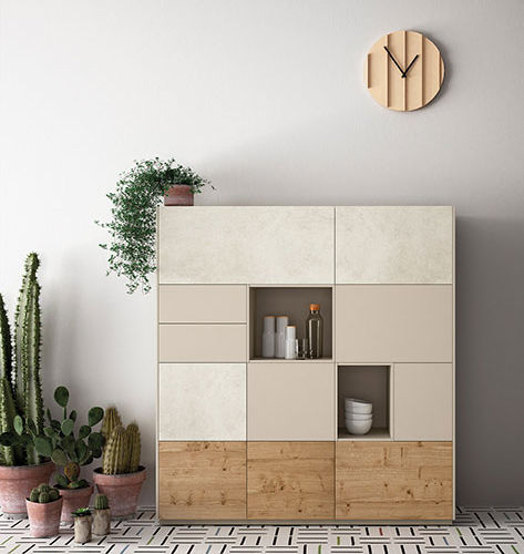 High sideboard / contemporary / lacquered wood / oak FRENTES : C10 VIVE - MUEBLES VERGE S.L.