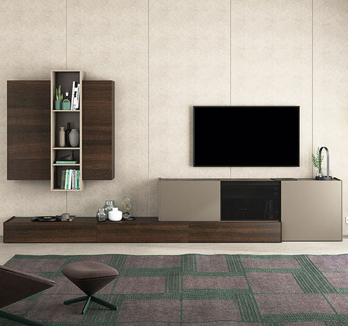 Contemporary TV wall unit / lacquered wood / oak / lacquered glass FRENTES : TV10  VIVE - MUEBLES VERGE S.L.