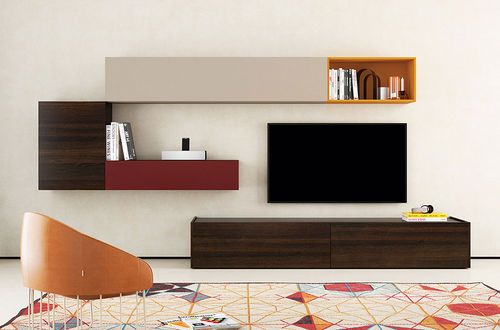 Contemporary TV wall unit / lacquered wood / oak FRENTES : TV12 VIVE - MUEBLES VERGE S.L.