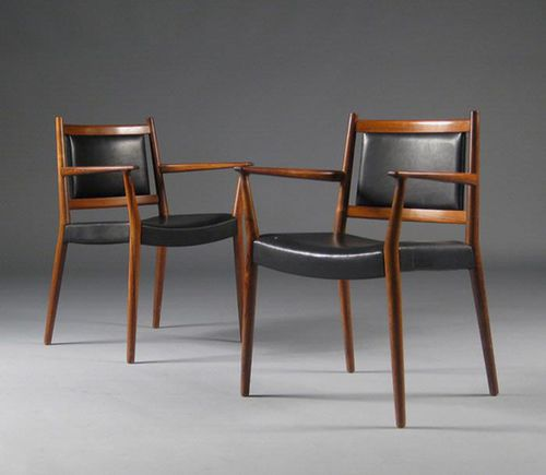 Scandinavian design dining chair / upholstered / with armrests / leather