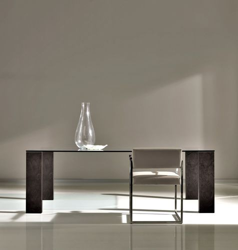 contemporary dining table / walnut / tempered glass / stainless steel