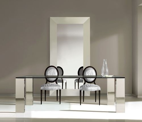contemporary dining table / tempered glass / stainless steel / rectangular
