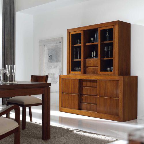 contemporary sideboard / walnut / beech / with shelf