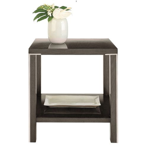 contemporary bedside table / walnut / stainless steel / rectangular