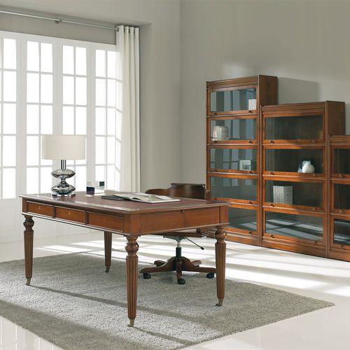 executive desk / walnut / beech / leather