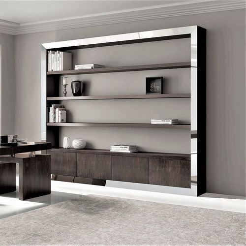 contemporary bookcase / for offices / walnut