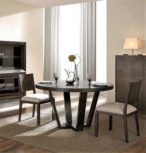 contemporary dining table / beech / walnut / round