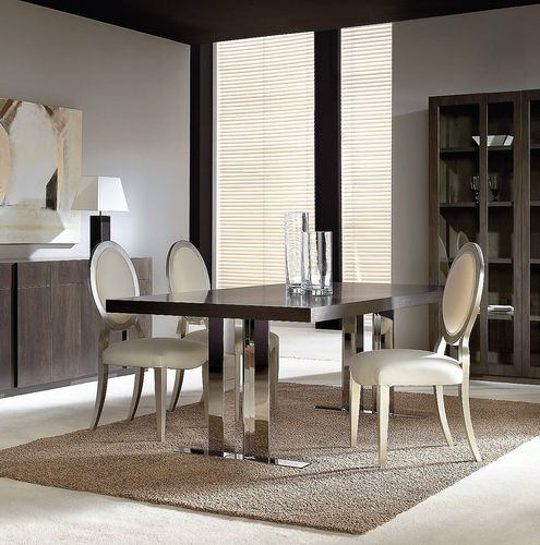 contemporary dining table / stainless steel / walnut / beech