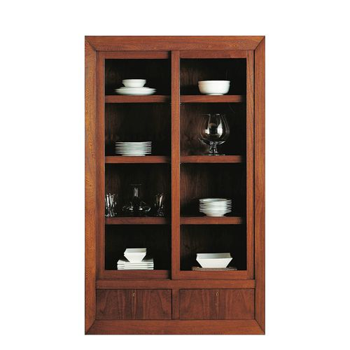 contemporary china cabinet / walnut / glass