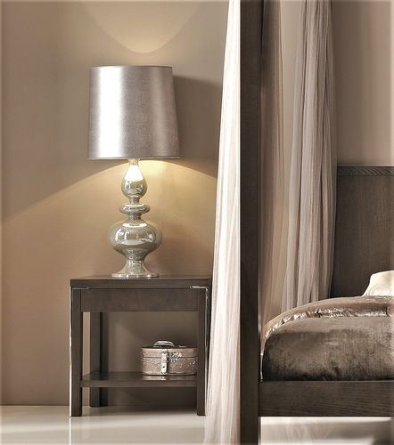 contemporary bedside table / stainless steel / walnut / beech