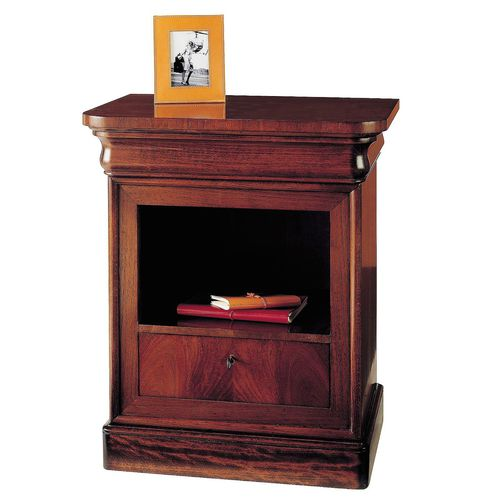 Victorian bedside table / walnut / beech / rectangular