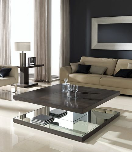 contemporary coffee table / walnut / rectangular / square