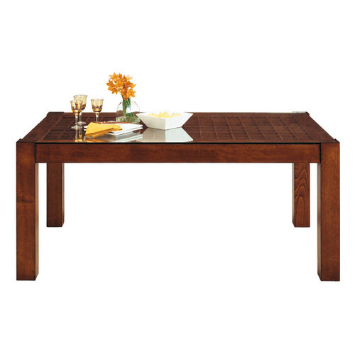 contemporary table / wooden / glass / rectangular