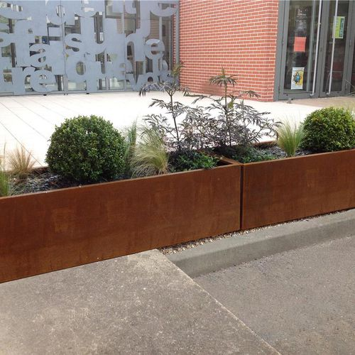 COR-TEN® steel planter / thermo-lacquered steel / rectangular / custom