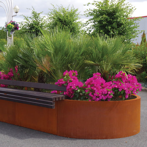 COR-TEN® steel planter / thermo-lacquered steel / oval / with integrated bench