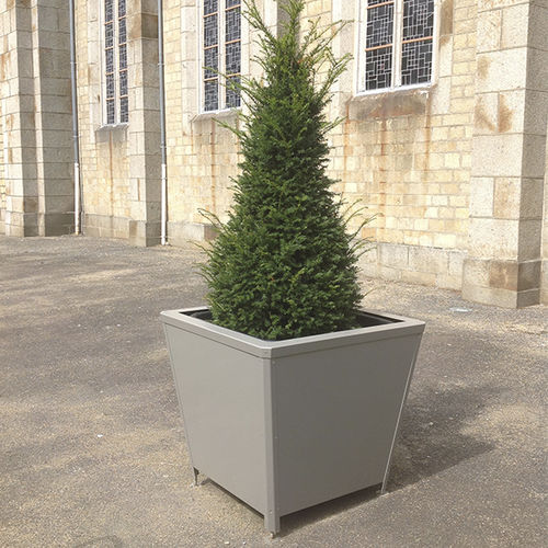 wooden planter / thermo-lacquered steel / contemporary / for public spaces