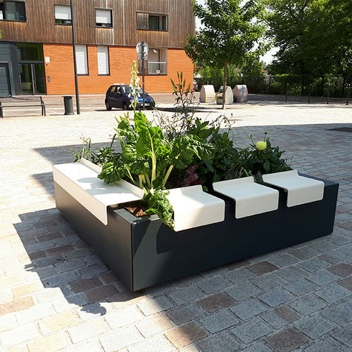 steel planter / thermo-lacquered steel / square / contemporary