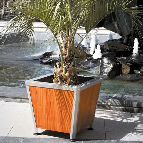 Steel planter / stainless steel / thermo-lacquered steel / wooden KESA ATECH