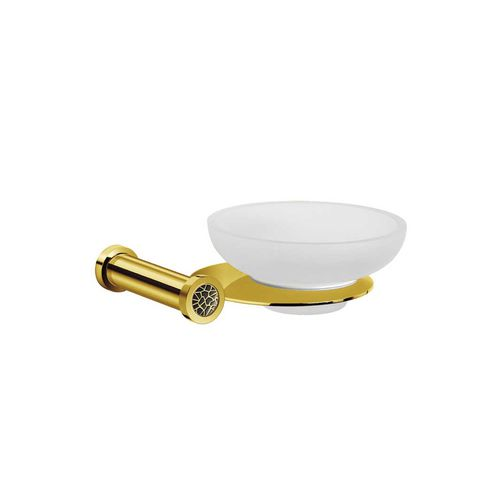 wall-mounted soap dish / chrome-plated brass / gold-plated brass / crystal