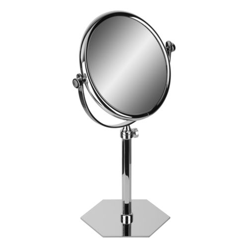 free-standing bathroom mirror / magnifying / double-sided / circular