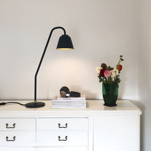 table lamp / contemporary / aluminum / black