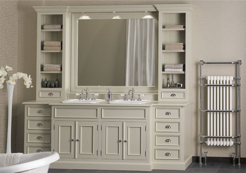 double washbasin cabinet / free-standing / wooden / marble