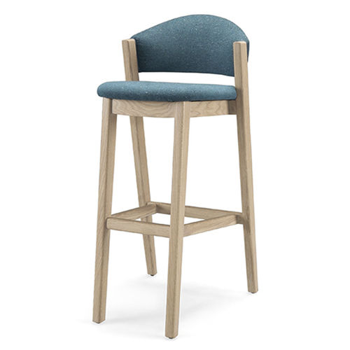 contemporary bar chair / upholstered / fabric / oak