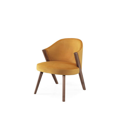contemporary armchair / fabric / oak / walnut