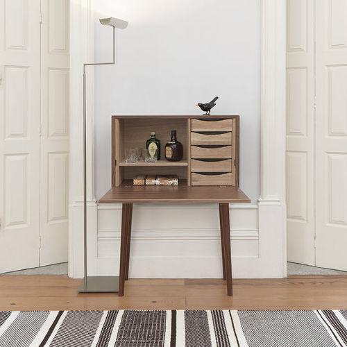 contemporary mini bar cabinet / oak / walnut