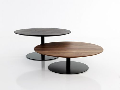 contemporary side table / steel / lacquered wood / round