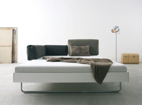 double bed / contemporary / with headboard / aluminum