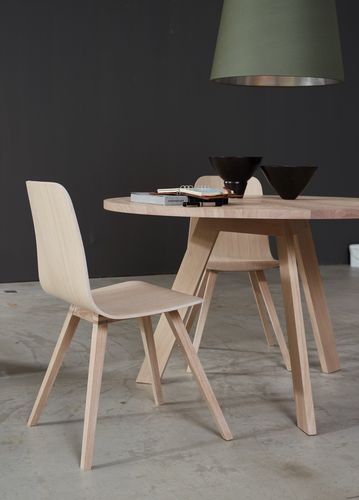 contemporary table / solid wood / rectangular / round