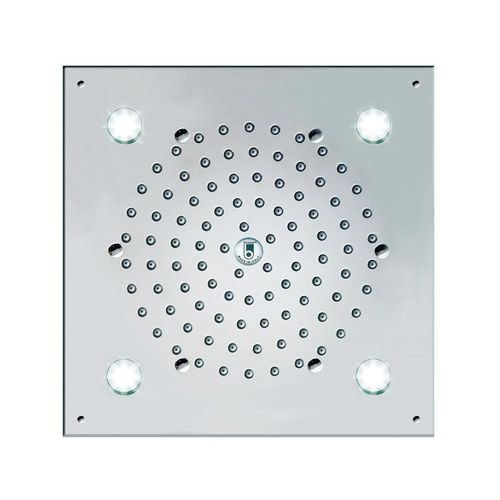 Recessed ceiling shower head / square / with chromotherapy / with built-in light CUBE FLAT: I00723/I00717/I01723 BOSSINI