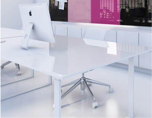 Contemporary work table / tempered glass / steel / rectangular CHAT BOARD® TABLE CHAT BOARD®