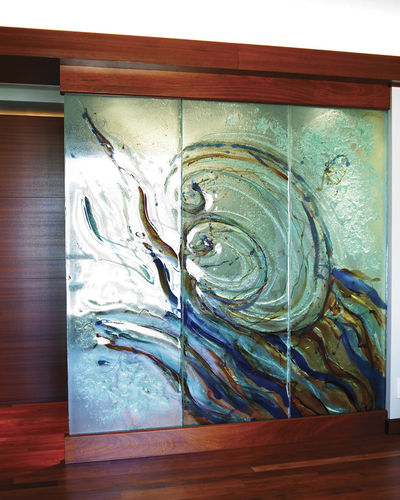 glass decorative panel / wall-mounted / for interior / for exterior fittings