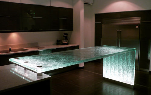 Kitchen counter / glass / upright / illuminated ORIGINAL ThinkGlass