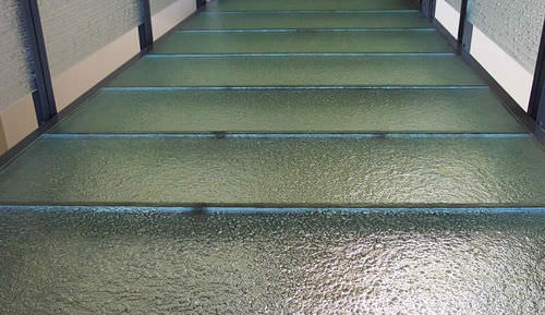 patterned glass panel / textured / for walkways / non-slip