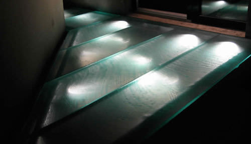 patterned glass panel / for walkways / non-slip / translucent
