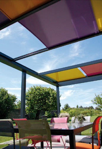wall-mounted pergola / aluminum / with sliding canopy / modular