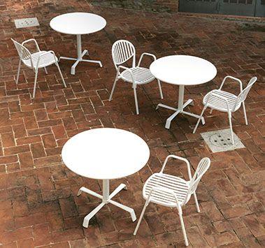 contemporary chair / stackable / aluminium / outdoor